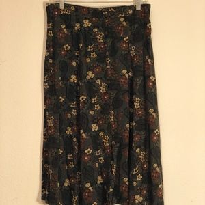 Olive Brown Multi Colored Floral Print Skirt